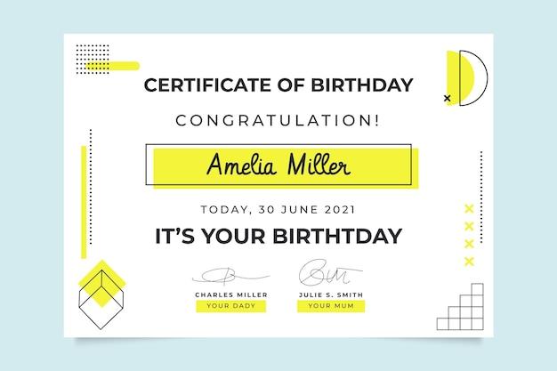 Plantilla de certificado de cumpleaños minimalista geométrico