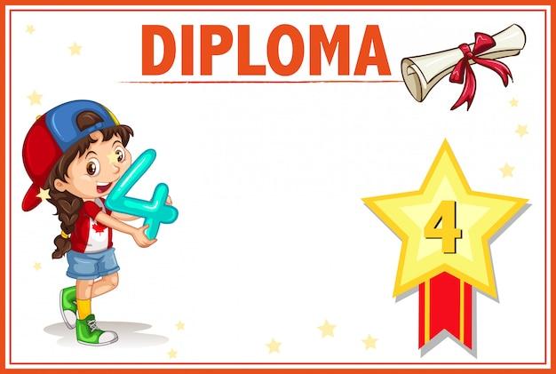 Plantilla de certificado de diploma de cuarto grado