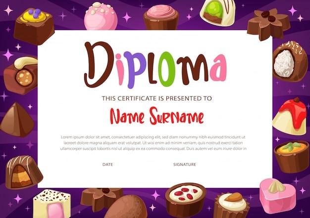 Plantilla de certificado de diploma de educación infantil