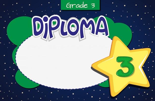 Plantilla de certificado de diploma de grado tres