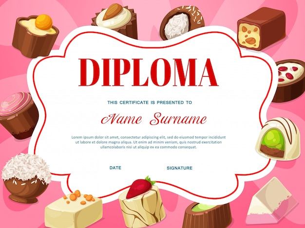 Plantilla de certificado de diploma para niños con chocolate