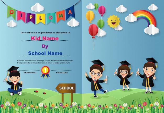 Plantilla de certificado de diploma de niños en edad preescolar