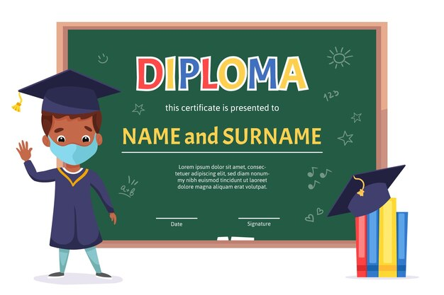 Plantilla de certificado de diploma para niños de escuela con chico lindo con pizarra verde y elementos escolares de doodle dibujados a mano