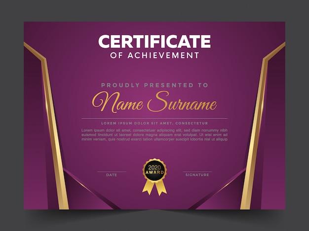 Plantilla de certificado y diploma profesional elegante azul y dorado