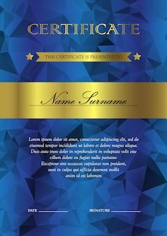 Plantilla de certificado y diploma vertical azul y oro