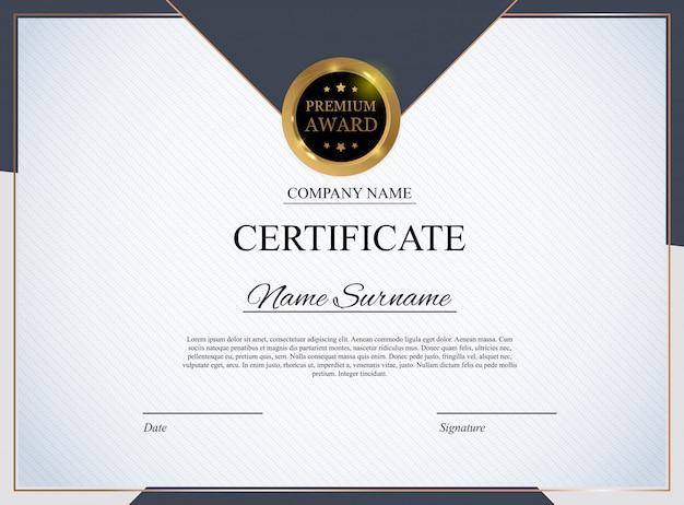 Plantilla de certificado. diseño de diploma de premio en blanco.