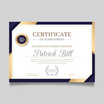 Plantilla de certificado en diseño elegante