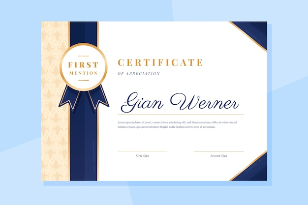 Plantilla de certificado con diseño elegante