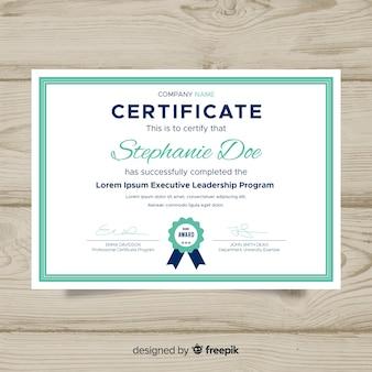 Plantilla de certificado en diseño flat