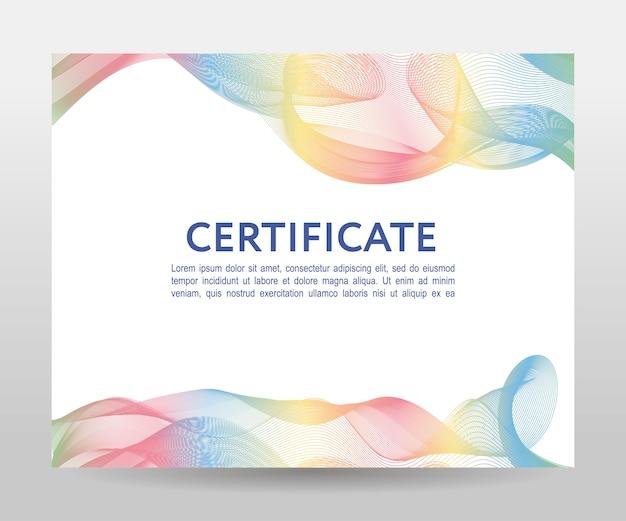 Plantilla de certificado con diseño de malla de ondas coloridas