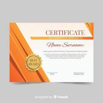 Plantilla de certificado en diseño moderno