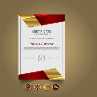 Plantilla de certificado dorado y rojo
