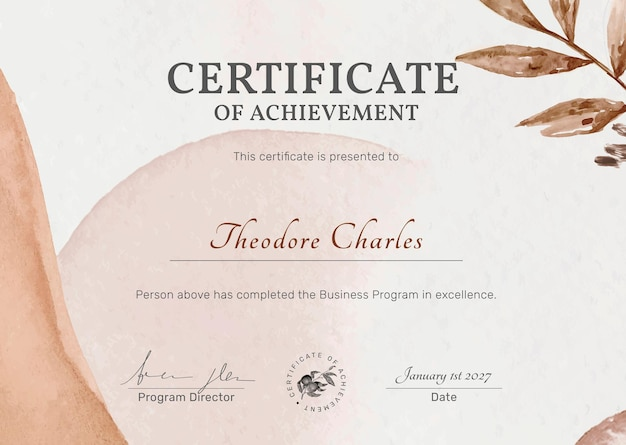 Plantilla de certificado editable en diseño botánico femenino