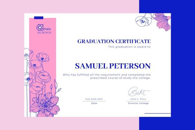 Plantilla de certificado de educación floral duotono