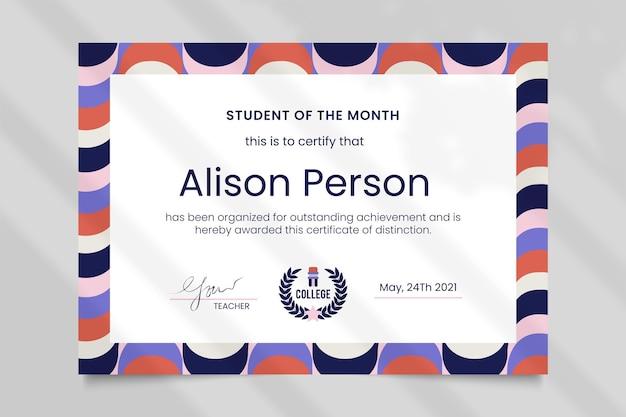 Plantilla de certificado de educación de patrón creativo