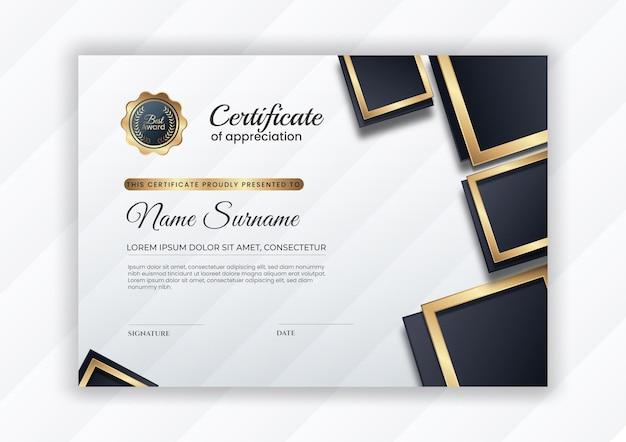 Plantilla de certificado elegante con color degradado