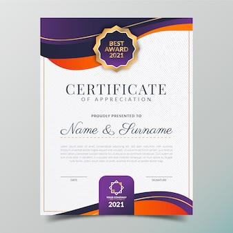 Plantilla de certificado elegante degradado vector gratuito