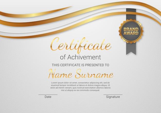 Plantilla de certificado elegante degradado