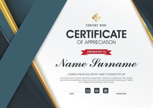 Plantilla de certificado elegante con detalles dorados