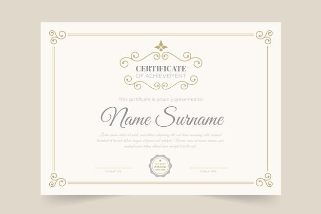 Plantilla de certificado elegante y estilo diploma