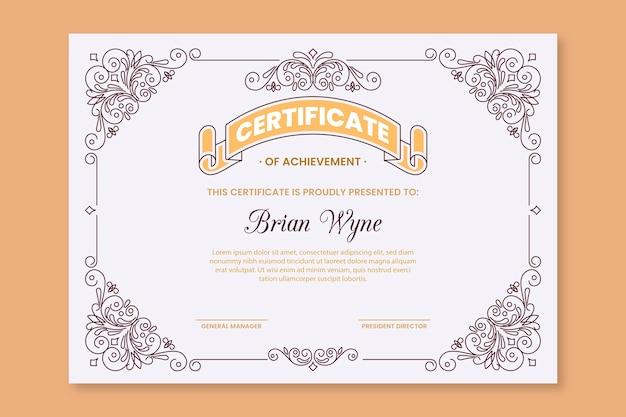 Plantilla de certificado elegante de graduación