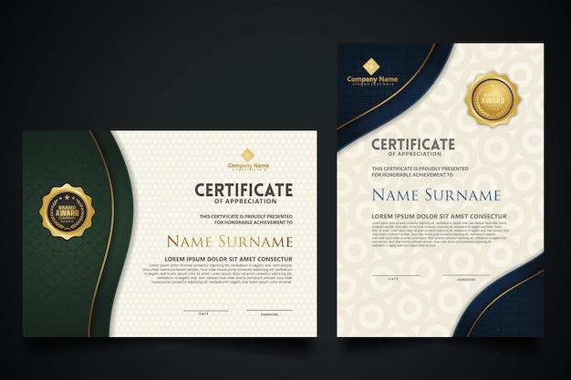 Plantilla de certificado con elegante marco de esquina y patrón de textura realista de lujo, diploma y diseño de insignias premium. ilustración vectorial
