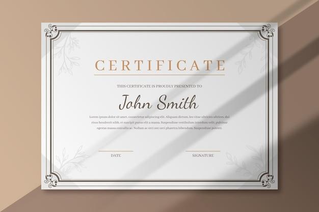 Plantilla de certificado elegante con marco