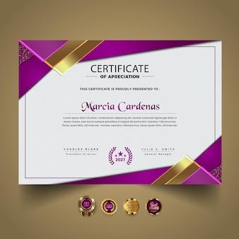 Plantilla de certificado elegante moderno degradado