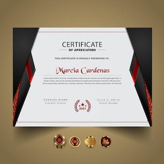 Plantilla de certificado elegante oscuro moderno