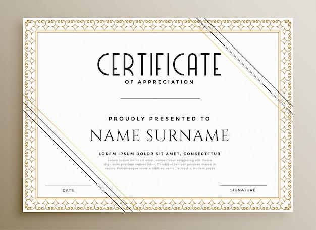 Plantilla de certificado elegante en tema de oro