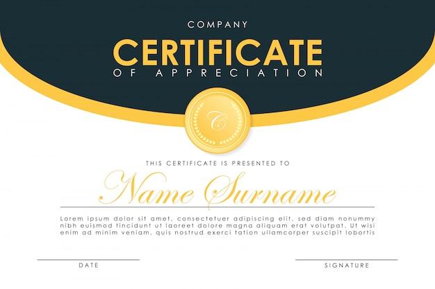 Plantilla de certificado en elegantes colores azul oscuro con medalla de oro.