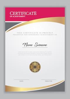 Plantilla de certificado con elemento dorado