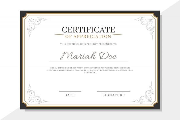 Plantilla de certificado con elementos elegantes