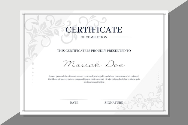 Plantilla de certificado con elementos florales