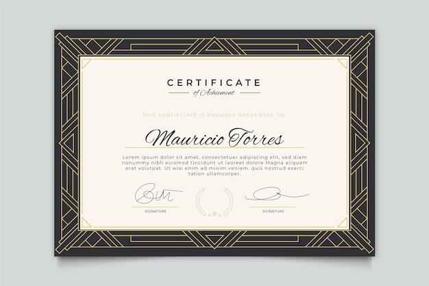 Plantilla de certificado de estilo elegante