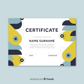 Plantilla de certificado en estilo flat