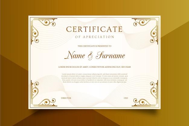 Plantilla de certificado en estilo lujoso