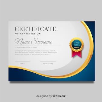Plantilla de certificado en estilo moderno