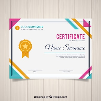 Plantilla de certificado en estilo plano