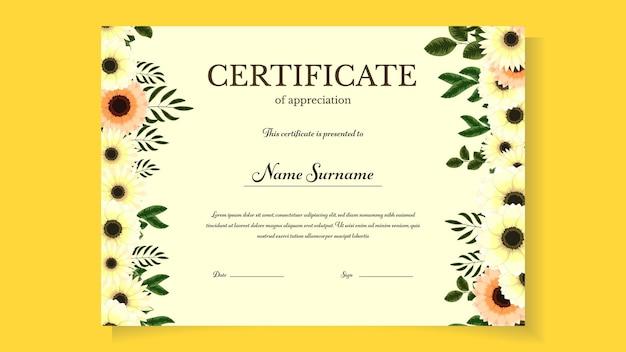 Plantilla de certificado floral editable imprimible con lindas flores florecientes premio ilustración vectorial