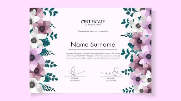 Plantilla de certificado floral editable imprimible con lindas flores florecientes
