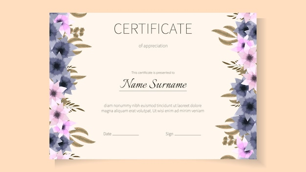 Plantilla de certificado floral de flores para el diploma de graduación de logros