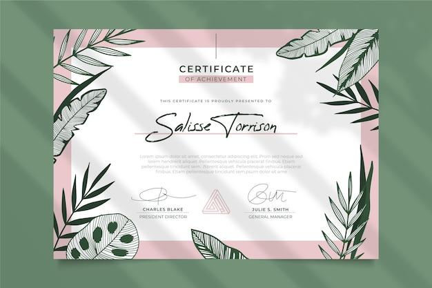 Plantilla de certificado floral
