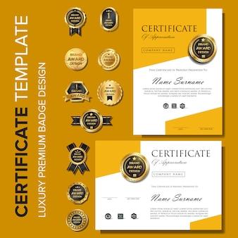 Plantilla de certificado con fondo de lujo y moderno.