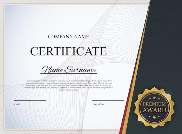 Plantilla de certificado de fondo. premio diploma de diseño en blanco.