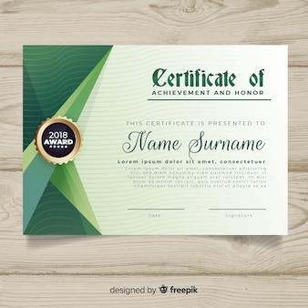 Plantilla de certificado con formas abstractas