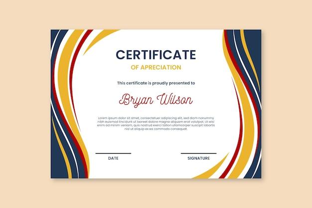 Plantilla de certificado de formas abstractas