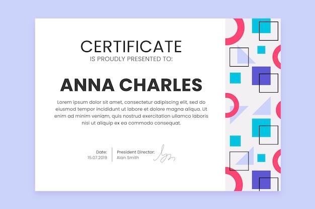 Plantilla de certificado con formas geométricas