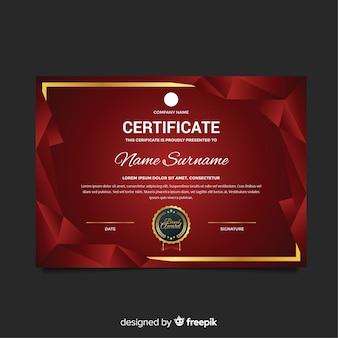 Plantilla de certificado con formas modernas