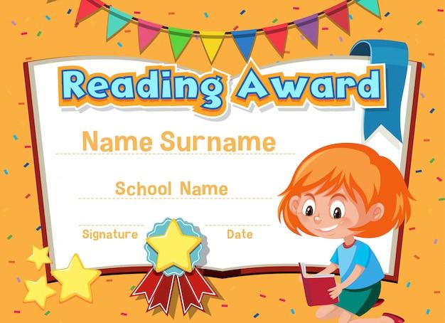 Plantilla de certificado para leer premio con niña leyendo en